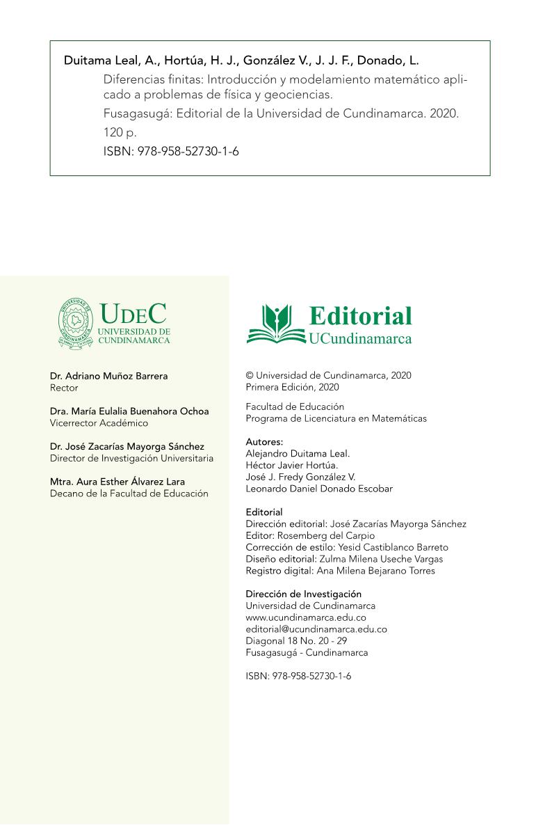 Diferencias Finitas Introducción y modelamiento matemático aplicado a problemas de física y geociencias